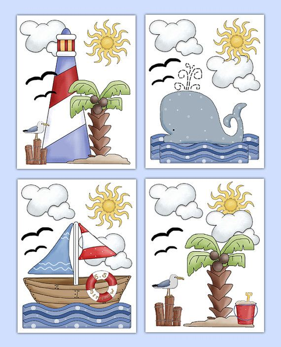 NAUTICAL NURSERY PRINTS or Decals Wall Art Baby Boy Sailboat Decor Children's Beach Seashore Ocean Sea Life Lighthouse Whale Room Stickers #decampstudios