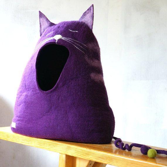 Cama de gato / cat gato casa cueva/felted la por IndreNaujokiene