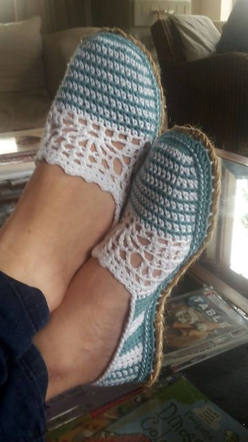 Ravelry: Lace & Stripe Espadrilles - Basic Slipper Pattern pattern by Sophie and Me-Ingunn Santini