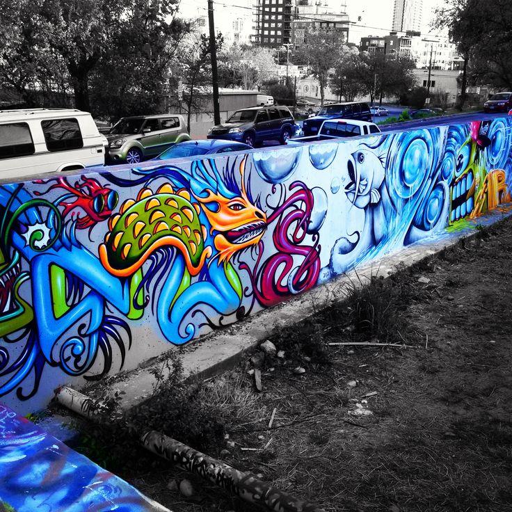 Baylor Street Art Wall: Graffiti Wall Off Baylor Street Fall 2013