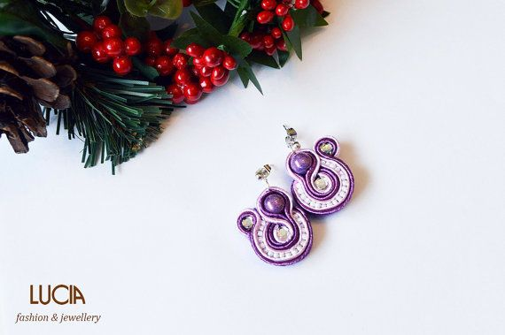 Purple soutache earrings by LuciaProducts on Etsy