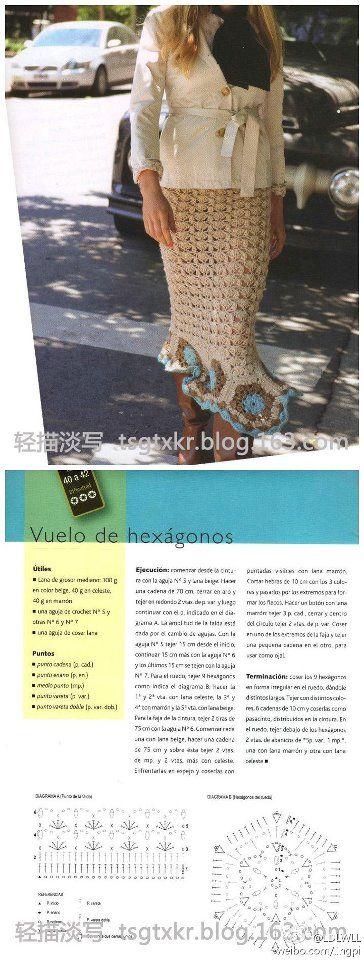 Crochet beige skirt ♥LCS-MRS♥ with simple diagram----Patrones Crochet: Patron Crochet Falda Maxi