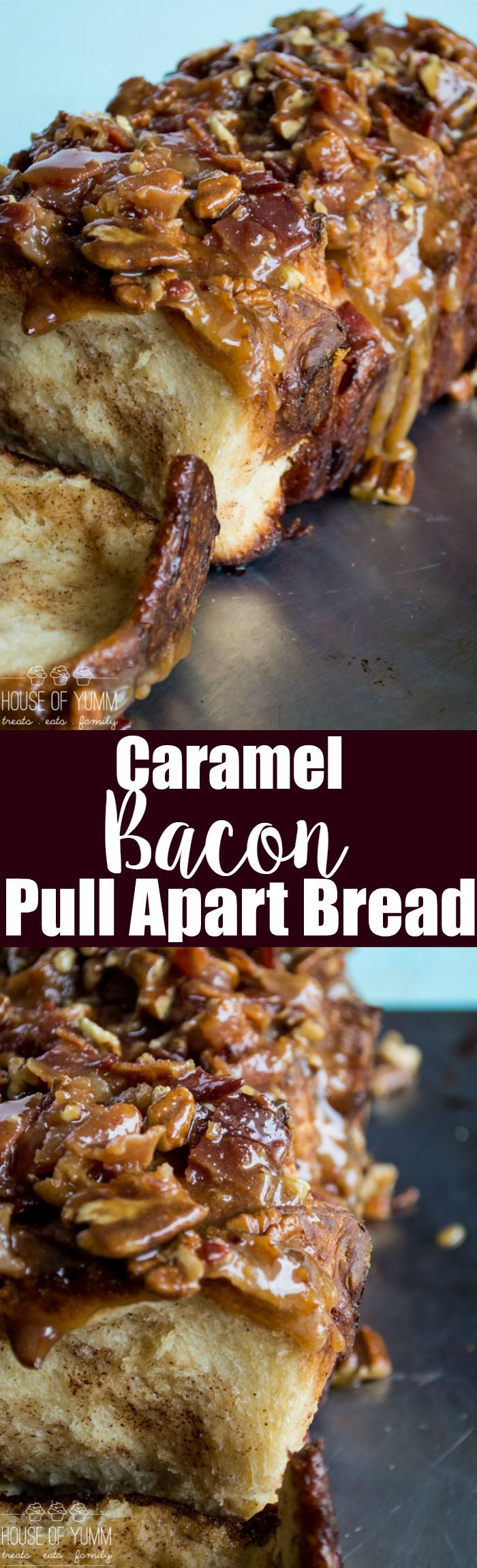 Caramel Bacon Pull Apart Bread. The ULTIMATE pull apart bread recipe!  Soft cinnamon bread topped with a rich, thick bacon pecan caramel.  This was DEVOURED!