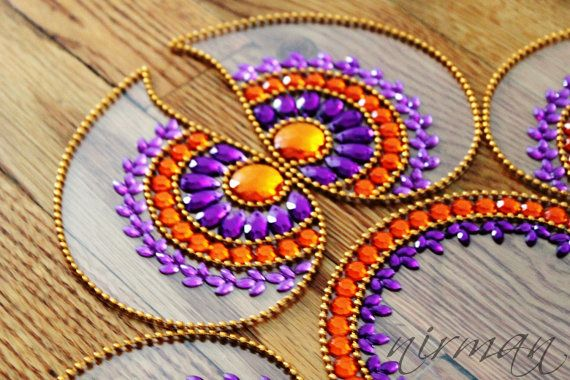 Rangoli floor art Mirror Pan Purple and Orange set of by Nirman