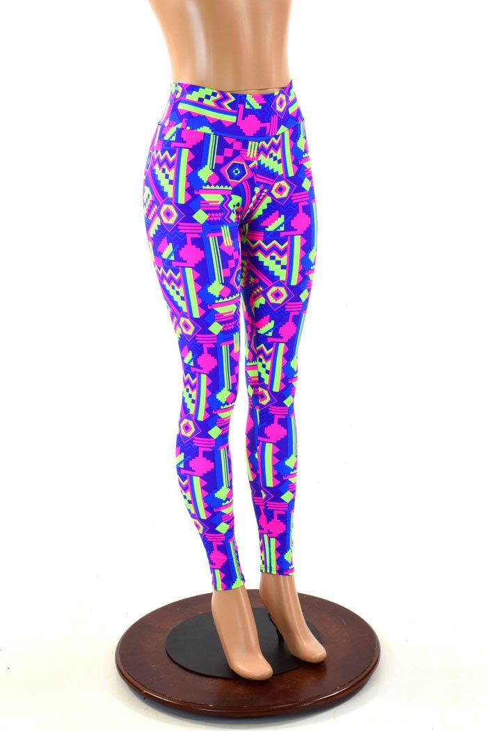 Neon Gemoetric Lime and Purple Aztec Print UV Glow High Waist  Leggings Neon Run or High Waisted Yoga Leggings  151295 by CoquetryClothing on Etsy https://www.etsy.com/listing/159037600/neon-gemoetric-lime-and-purple-aztec
