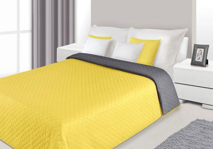 Modne narzuty dwustronne na łóżko do sypialni koloru żółto szarego
