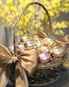 Gilding Eggs. Make a gorgeous Easter basket with beautiful gold, copper, silver, pink eggs - Martha Stewart
