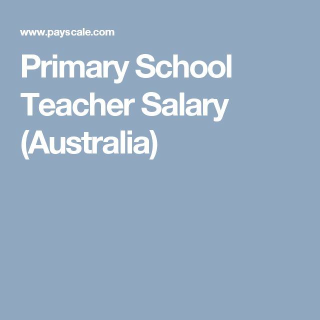 Primary School Teacher Salary (Australia)