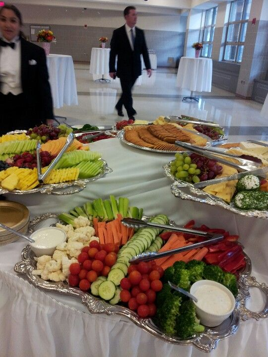 Fruit and vegetable platters with cheese