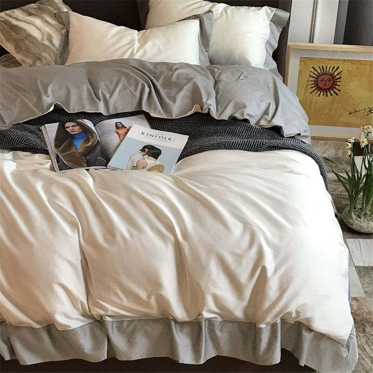 >> Click to Buy << CHAUSUB Solid Color Bedding Set 4PCS 100% Satin Egyptian Cotton Duvet Cover King Queen Size Bed Cover Sheet Silky Bed Linen #Affiliate