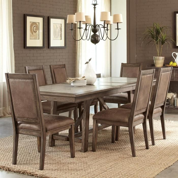 Liberty Stone Brook 7 Piece Dining Set In Rustic Saddle