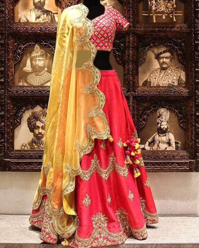 Deep Rani Markuni Silk Bridal Lehenga Choli  Product Details : D.No-1308 Lehenga Colour: Deep Rani.  Blouse Colour: Deep Rani.  Dupatta Colour: Yellow.. Lehenga Fabric: Bridal Markuri Silk. Blouse Fabric: Bridal Markuri Silk. Dupatta Fabric: Bridal Net. Lehenga Length: 42 inch. Blouse Length: 1.2 MTR. Dupatta Length: 2.4 MTR. Blouse Work: Heavy Embroidery and Stone Work. Flair: 3 MTR. Weight: 2 KG.  Price : 4200 INR ONLY  To book this look whatsapp or Dm  +91 9054562754