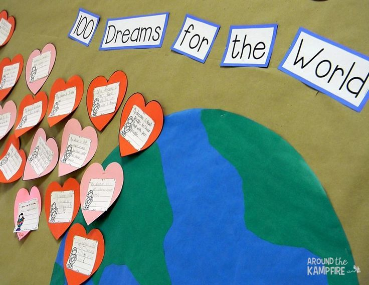 Free MLK, Valentine's Day & 100th Day of School all-in-one bulletin board-100 Dreams for the World
