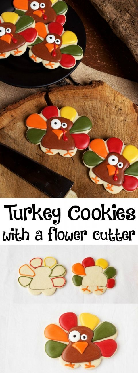 Super Simple Turkey Cookies made with a Flower Cookie Cutter | The Bearfoot Baker