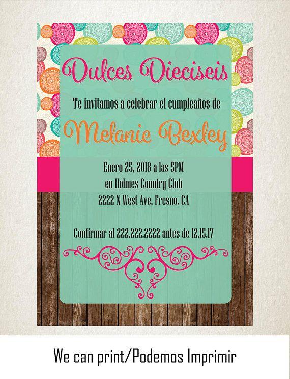 Invitacion Dulces Dieciseis Circulos de Colores Madera 5x7