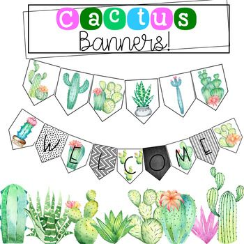 Enjoy 4 cactus banners!-  Welcome Banner ( 2 different fonts)- Lookin' Sharp (1)-  Cactus accent banner (1)Check out my cactus decor bundle below!https://www.teacherspayteachers.com/Product/Cactus-Classroom-Decor-3188812