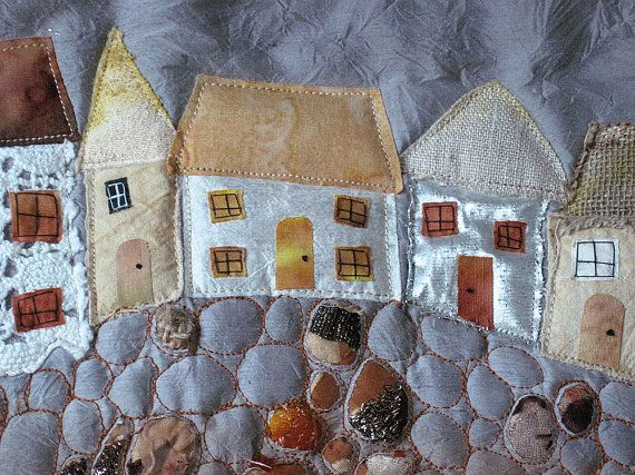 SEASIDE ART QUILT - St. Ives Cornwall quirky cottages houses beach sea seaweed shells beads - hand dyed silk embroidery beading applique by CAROLYNSAXBYTEXTILES.