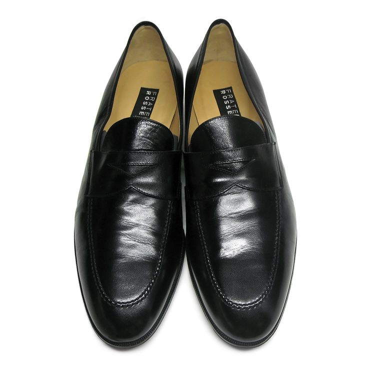 Stunning Fratelli Rossetti black mocassins with band detail made of super soft shinny black leather. Almond toe. Lining in light brown lamb. Leather sole.Size: 11 UK /45 ITA.Made in Italy.