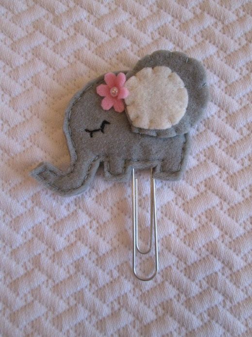 Elephant clip Planner accessories Felt paper by TinyFeltHeart