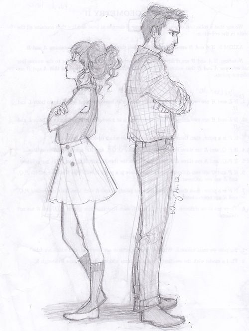 A great example of drawing from a side perspective .(Nick and Jess by Burdge)