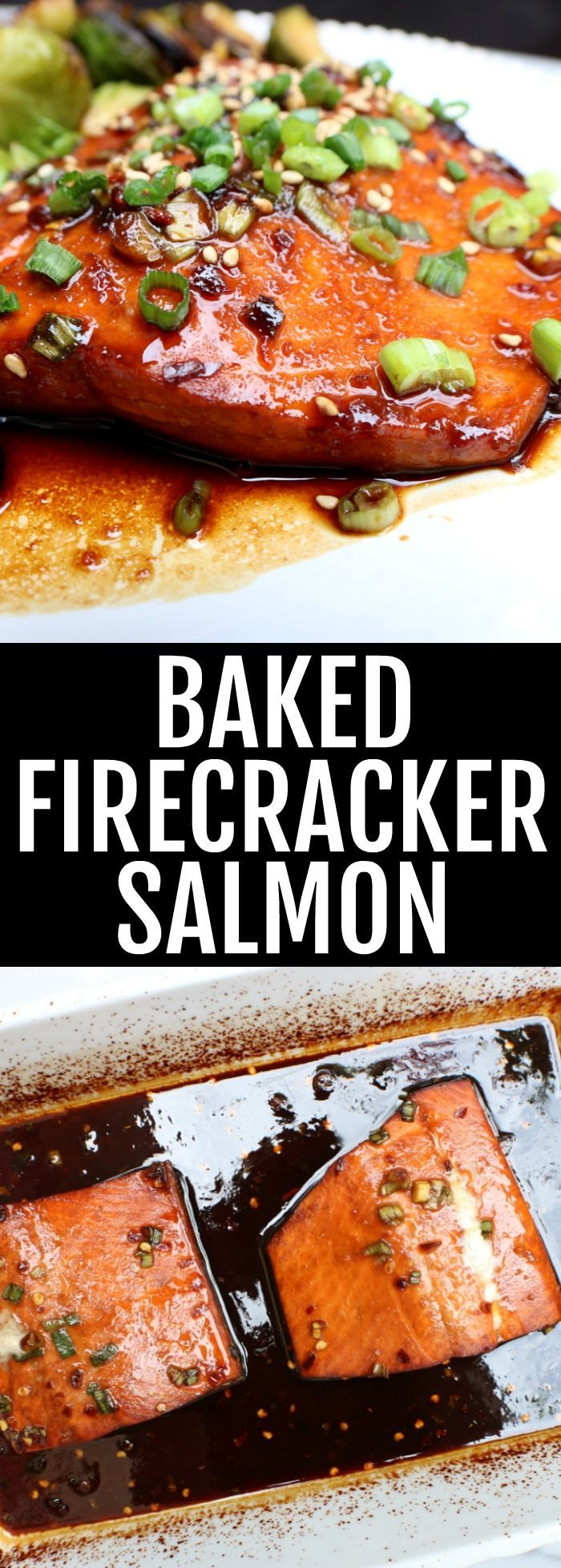 You'll love this spicy marinated Baked Firecracker Salmon!! Such a delicious and fiery fish dinner, perfect for any weeknight meal or date night! thetoastedpinenut.com #lowcarb #glutenfree #salmon #fish #dinner #seafood
