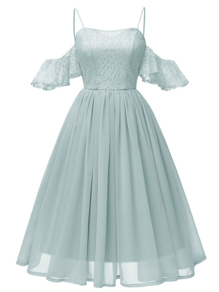 1950s Lace Cold Shoulder Strap Dress
