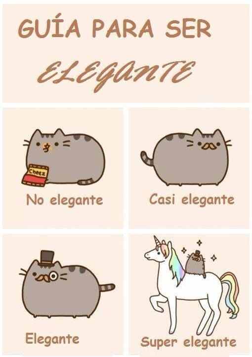 Looks like Pusheen is joining in our efforts of teaching you Spanish! ¿Qué tan elegante eres tú? / How elegant are you?Reblog with your answer to practice!