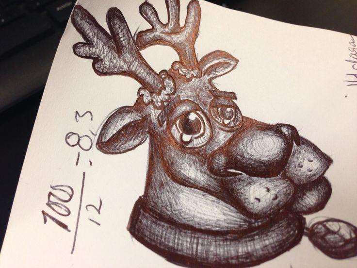 Första dagen på mitt nya jobb var jag så sjukt nervös att jag började kladda, det resulterade i ett litet renhuvud, ska föreställa Rudolf.