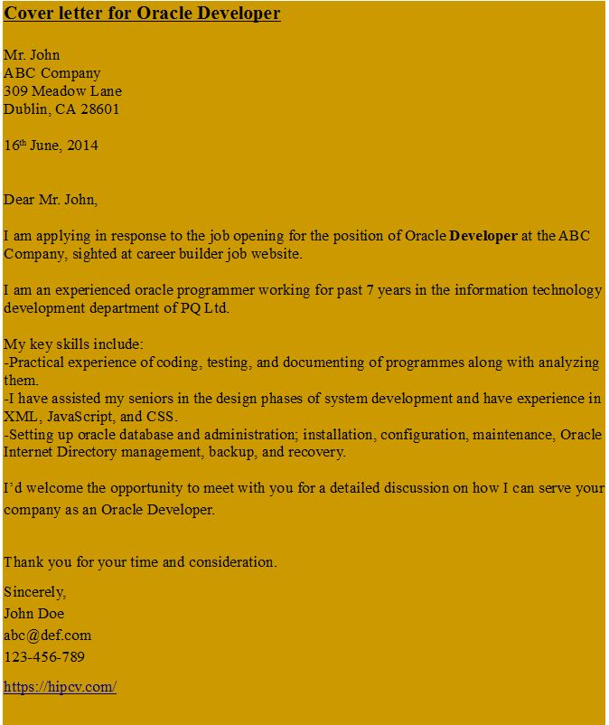 Collection Of Solutions Web Developer Cover Letter Example With