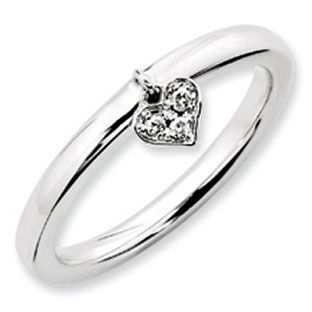 Diamond Dangle Heart Stackable Ring In White Gold Over Silver Available Exclusively at Gemologica.com