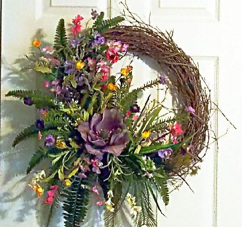 Summer Magnolia Grapevine Wreath by PataylaFloralDesigns on Etsy, $78.00