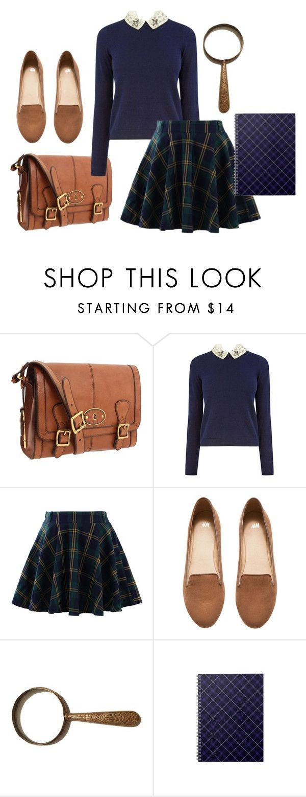 """""""Closet Costumes - Nancy Drew"""" by crazyalygator ❤ liked on Polyvore featuring FOSSIL, Oasis, Chicwish, H&M, Halloween, halloweencostume, Halloweenparty and Halloween2015"""