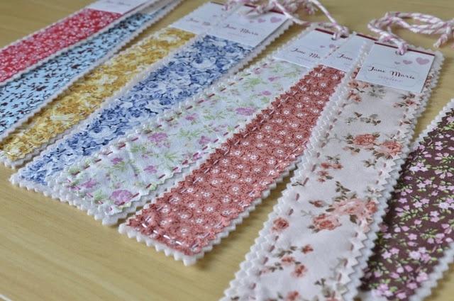 Marcadores de livro com retalhos de tecido