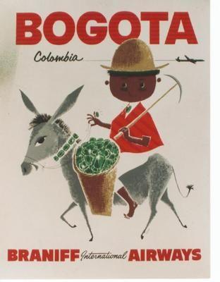 Original Vintage Poster Bogota Braniff Emerald Gems Indio | eBay