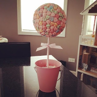 candy hearts centerpiece for A's birthday party