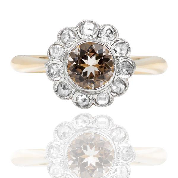 Art Deco Morganite & Diamond Daisy Ring