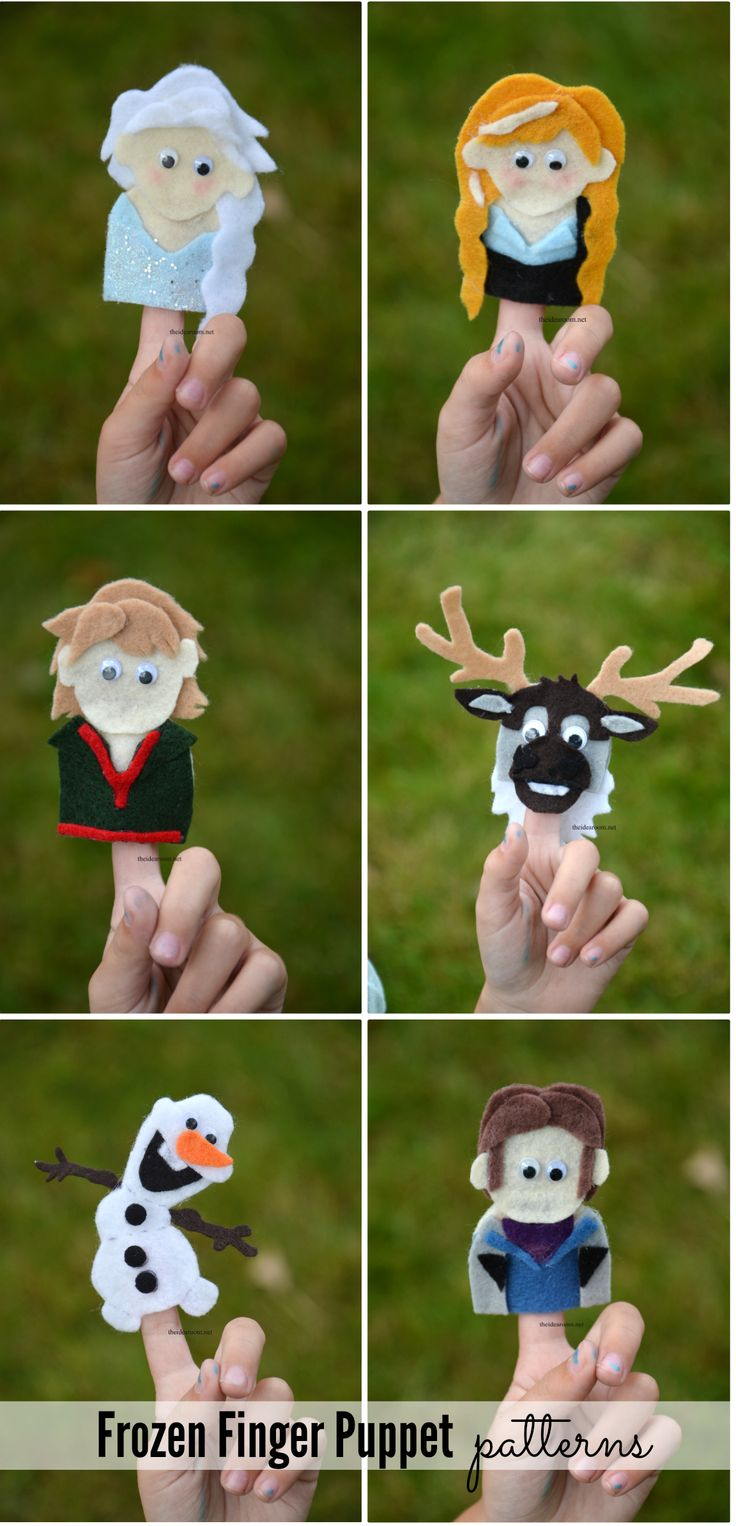 Frozen Finger Puppet Patterns from theidearoom.net Pinned by TheDisneyKids.com | for Winter Songs! How fun!