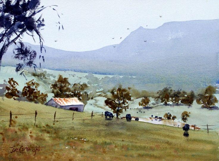 """Watercolour landscape painting by Joe Cartwright, Australian watercolorist, of """"Near Milton"""", NSW"""