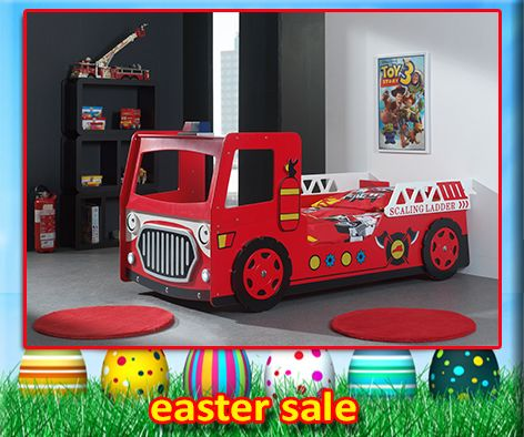 The Modern Red Fire Engine Bed with Led Head Lights (Battery Operated) features an exciting design with steering wheel. The perfect first bed, kids will love to sleep in this great novelty bed every night