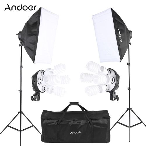 Andoer Studio Photo Lighting Kit with 2 * Softbox / 2 * 4in1 Bulb Socket / 8 * 45W Bulb / 2 * Light Stand / 1 * Carrying Bag