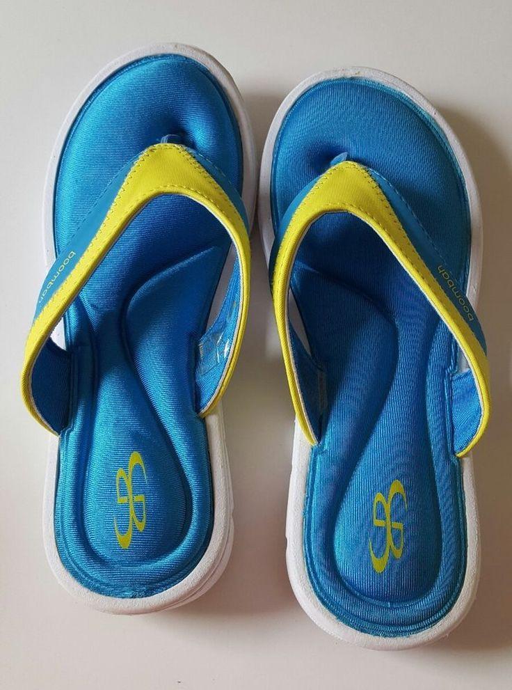 Boombah Women Shoes Size 8 Blue Yellow Flip Flops Flip-flops Beach Summer New #Boombah #FlipFlops