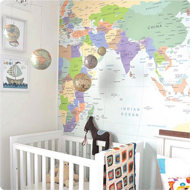"I would LOVE this fpr our homeschool room, but could probably never afford it. ""This world map mural from the Wall Sticker Company costs between about $250 and $550, depending whether you order the whole world or just half of it."" I'd want the whole thing of course!"