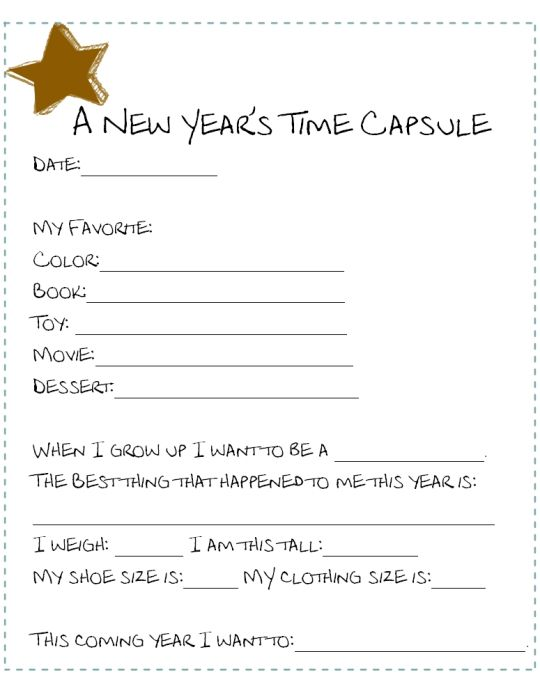 """2 New Years Printables """"Looking Back at the Year"""" to choose from- Print out 5, place them in the reusable time capsule and your set for years to come. Do you do a time capsule type of activity with you kids? I just started this year!"""