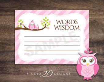 Meisje Baby douche spel woorden van wijsheid door thepartystork