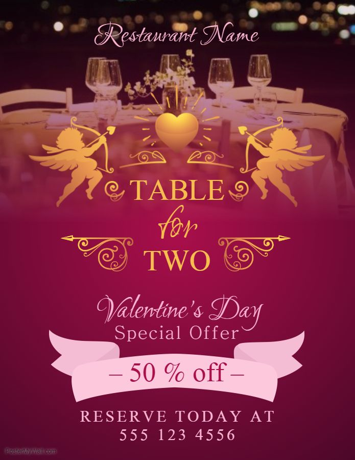Valentine S Day Table For Two Eatery Offer Poster Templates In 2019 Offers Valentines