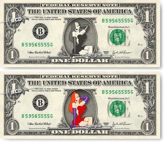 JESSICA RABBIT on REAL Dollar Bill Disney Who Framed Roger Rabbit Cash Money Collectible Memorabilia