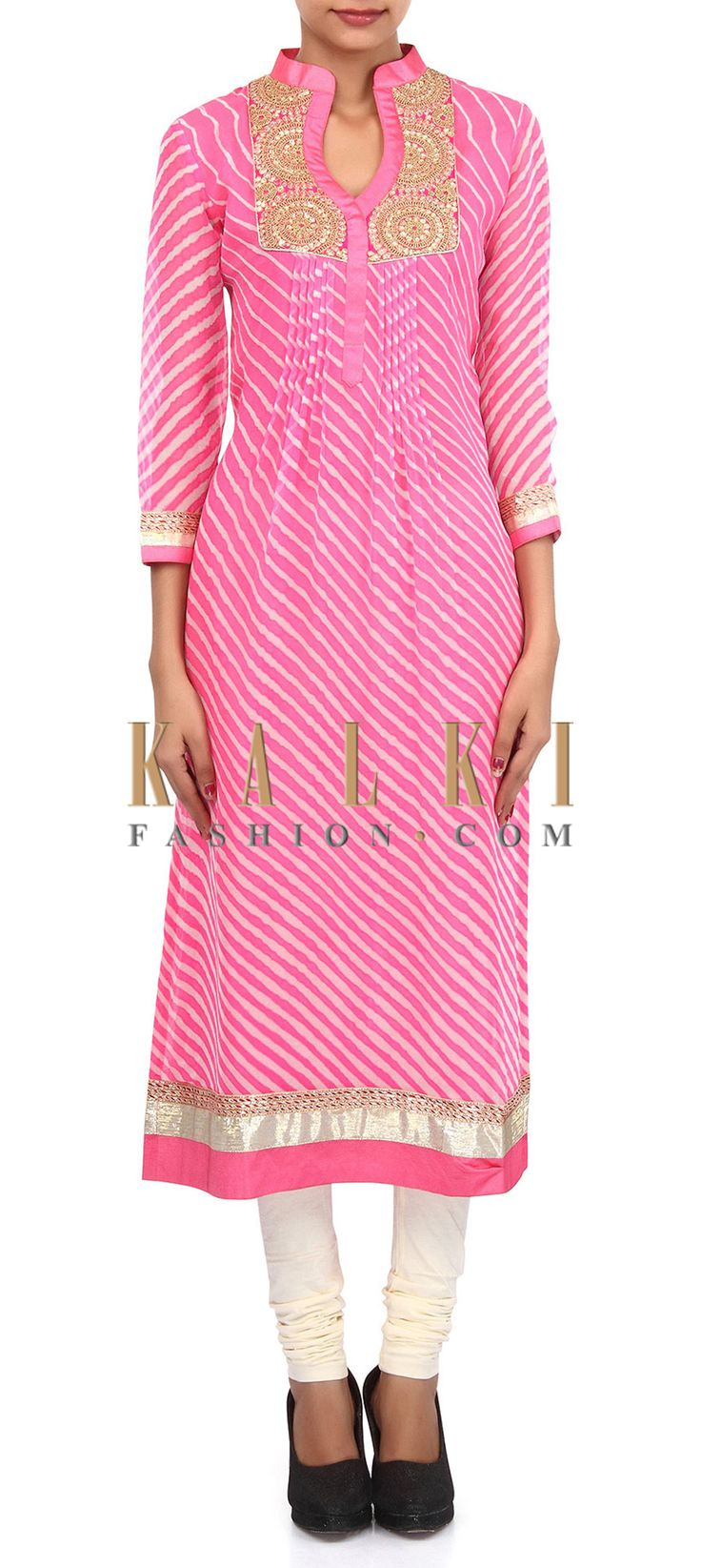 Buy Online from the link below. We ship worldwide (Free Shipping over US$100). Product SKU - 305756.Product Link - http://www.kalkifashion.com/pink-and-cream-suit-adorn-in-zari-and-pleat-embroidery-only-on-kalki.html