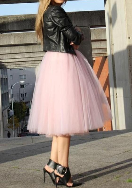 854d138102273a Pink Plain Draped Grenadine Puffy Tulle High Waisted Plus Size Knee Length  Adorable Tutu Skirt