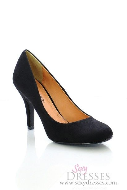 Uptown Girl Black Faux Suede Mid Low Heels