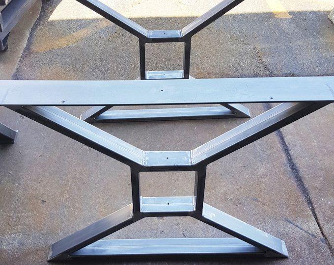 """Modern, Dining Table """"X"""" Legs, Model #TTS09, Heavy Duty Metal Legs, Industrial Legs from 3"""" x 1"""" Tubing"""